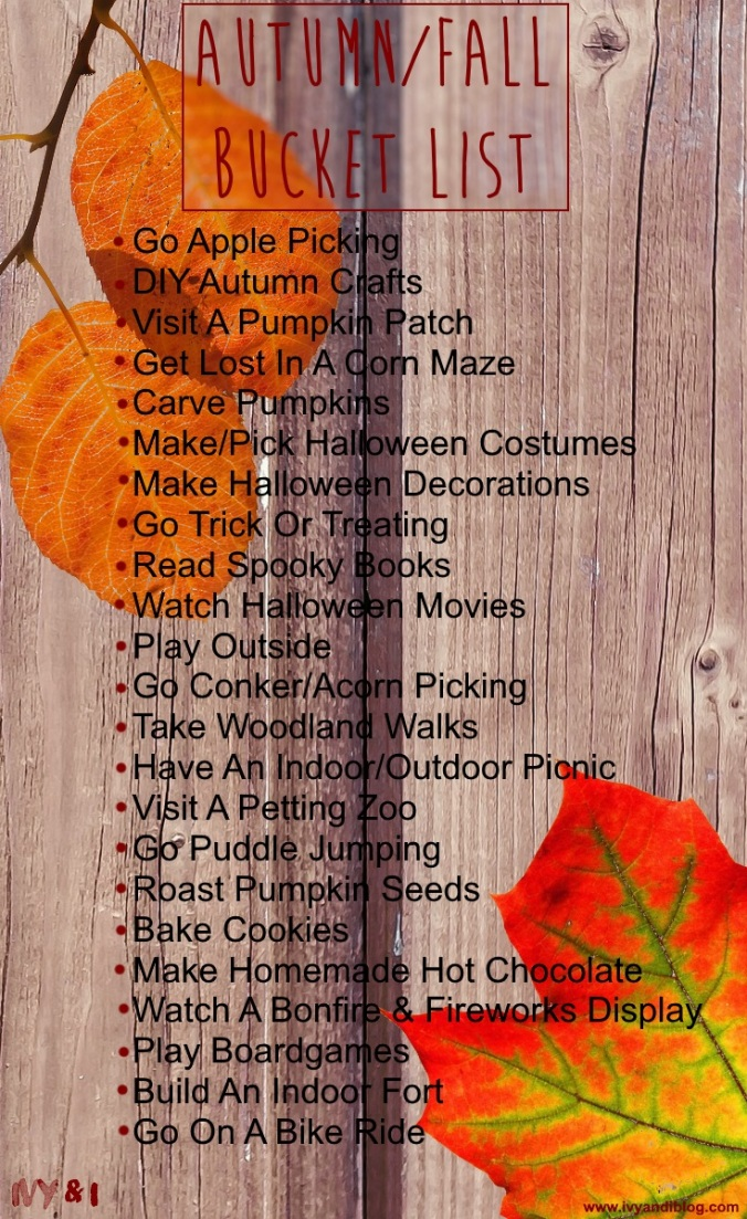 Autumn/Fall Family Bucket List